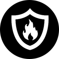 Shield and Fire Icon